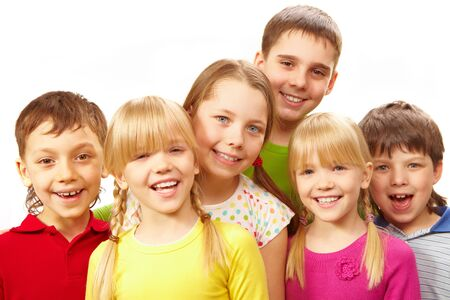 Image of young boys and girls smiling at camera Stock Photo - 7602176