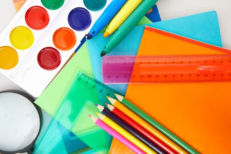 Close-up of various objects necessary in school education process photo