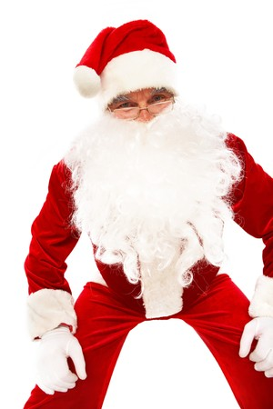 Photo of Santa Claus in eyeglasses posing in front of camera photo