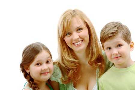 Portrait of mother and her children near by looking at camera Stock Photo - 7645845