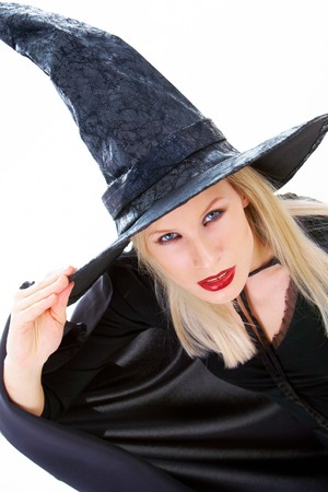 Portrait of young female wearing black hat and black clothing Stock Photo - 7695360
