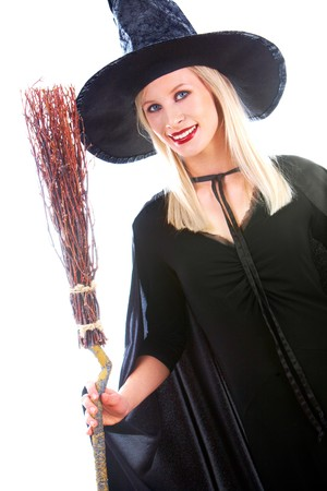 Portrait of young female in black hat and black clothing photo