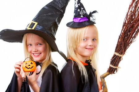 Portrait of twin girls in black hats and black clothing Stock Photo - 7695325