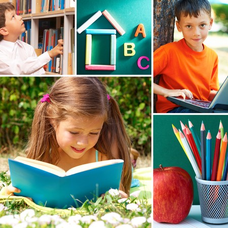 Collage of schoolchildren in studying process and education objects photo
