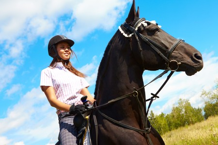 Image of happy female on purebred horse outdoors Stok Fotoğraf