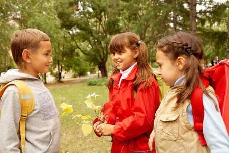 interacting: Portrait of schoolchildren chatting in autumnal park Stock Photo
