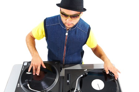 Portrait of modern deejay spinning turntables in isolation photo