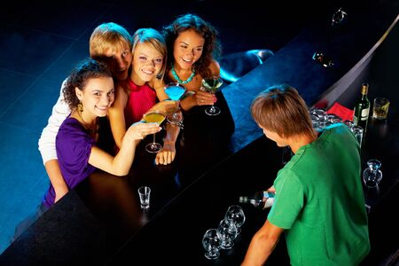 Image of happy teenagers having fun in the bar Stock Photo - 7695889