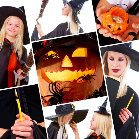 repent: Halloween collage with pumpkin, spiders and people in black costumes