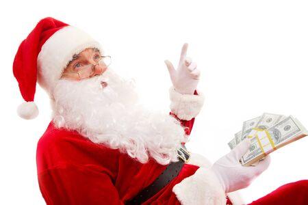 집게 손가락: Photo of happy Santa Claus with dollar bills gesturing with raised forefinger