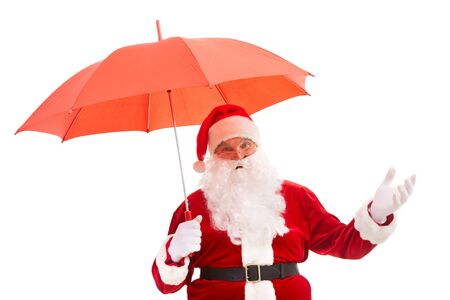 xmass: Photo of happy Santa Claus with red umbrella in isolation Stock Photo