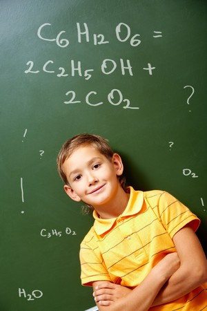 smart boy: Portrait of smart schoolchild by the blackboard and looking at camera