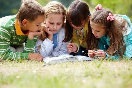 bambini che leggono: Ritratto di cute ragazzi lettura insieme il libro in ambiente naturale
