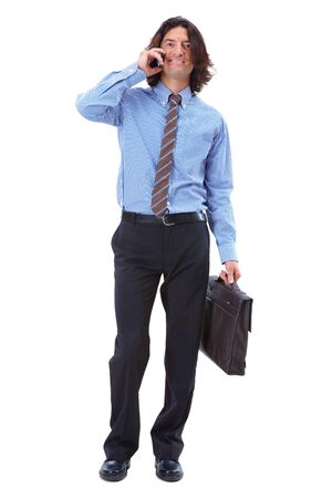 Photo of smart businessman calling somebody over white background Stock Photo - 7873735