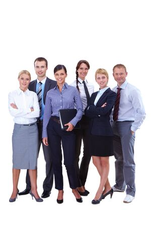 Portrait of friendly business team standing in isolation photo