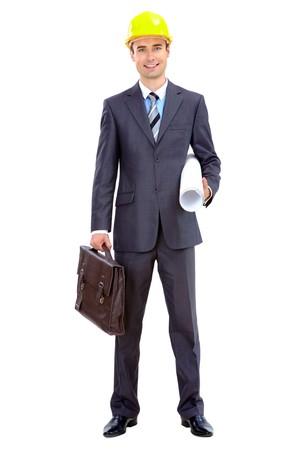 planos arquitecto: Foto de hombre de negocios inteligente en casco sobre fondo blanco  Foto de archivo