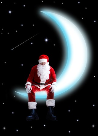 newyear night: Photo of Santa Claus sitting on shiny moon with night sky at background