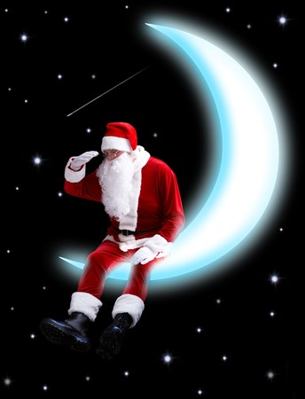 newyear night: Photo of Santa Claus sitting on shiny moon and looking downwards with night sky at background