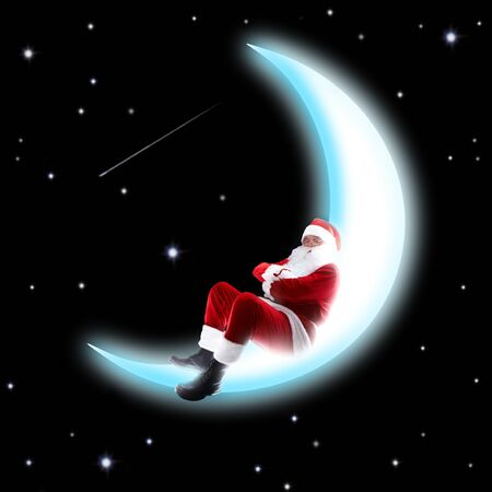 Photo of Santa Claus sleeping on shiny moon with night sky at background Stock Photo - 7873785