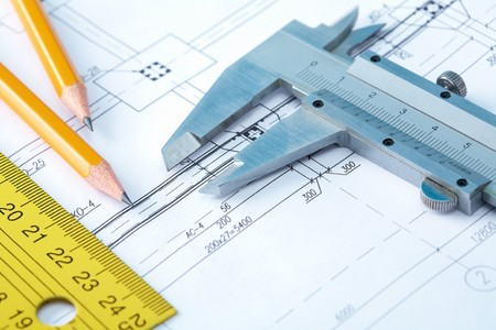 housebuilding: Close-up of draft with pencils and rulers Stock Photo