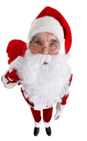 distorted image: A distorted image of Santa standing with a sack isolated on white Stock Photo