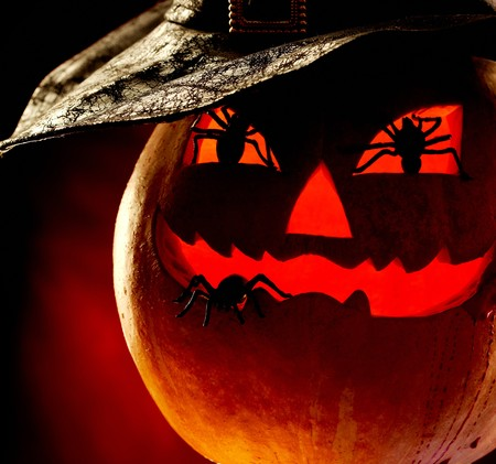 antichrist: Close-up of terrible pumpkin with spiders