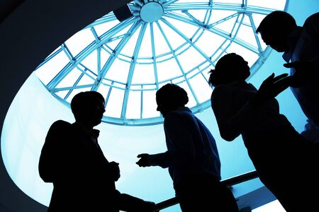 Silhouette of business people interacting with each other   photo