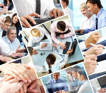 people communicating: Collage of different image with business people during work  Stock Photo