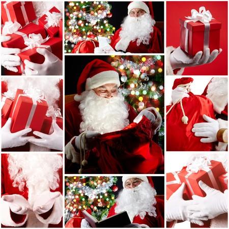 weihnachten: Christmas theme: Santa Claus and presents