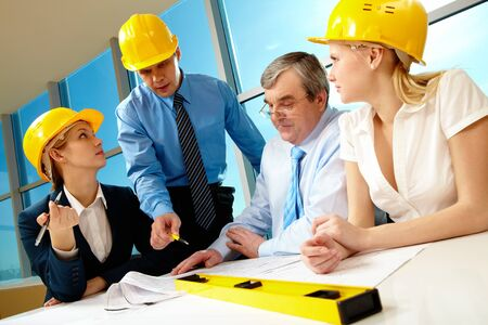 foreman speaking about near strategy to his business team Stock Photo - 7965354