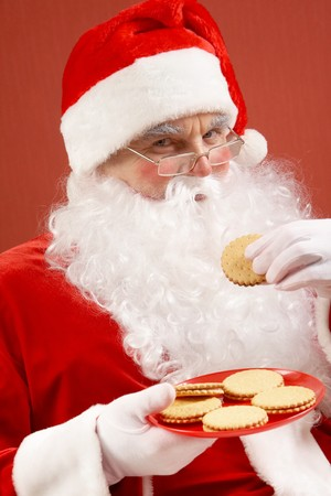 happy Santa Claus in eyeglasses looking at camera while eating biscuit Stock Photo - 7965299