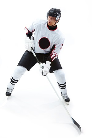 ice hockey: Image of concentrated hockey player during game  Stock Photo