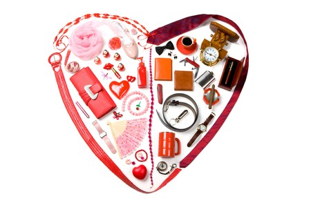 corazones: Image of heart made up of lady and male accessories