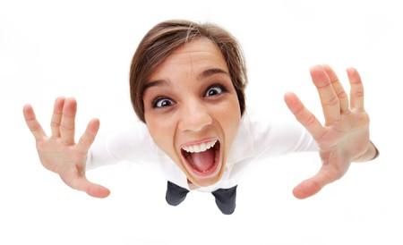 gente loca: Vista de �ngulo de alta de una chica gritando  Foto de archivo