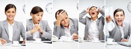 jornada de trabajo: Collage de joven empresario en diferentes situaciones durante la jornada de trabajo