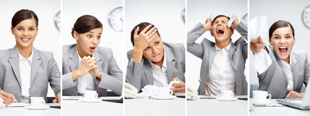 business failure: Collage of young employer in different situations during working day