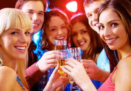 christmas drink: Portrait of joyful people celebrating birthday