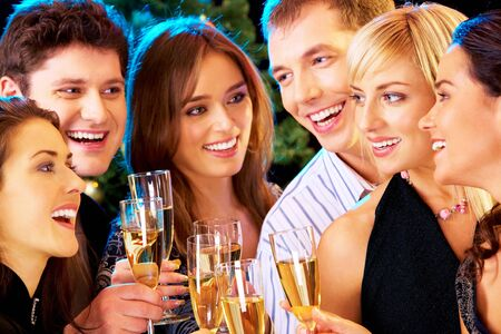newyear night: Photo of people clinking by glasses with each other Stock Photo