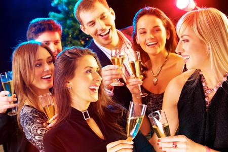 people partying: Photo of joyful people relaxing together at party