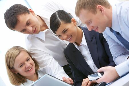 Photo of business people working in group photo