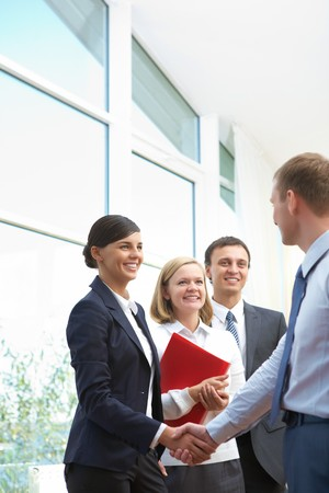 consensus: Image of business partners making an agreement Stock Photo
