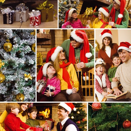 attributes: Collage of family celebrating Christmas, gifts and attributes of the holiday