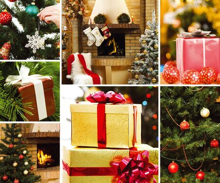 Collage of gifts and attributes of Christmas photo