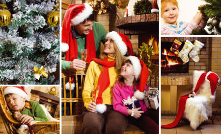 Collage of family and children on Christmas and attributes of the holiday photo