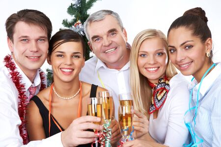 Photo of businesspeople with flutes of sparkling champagne photo