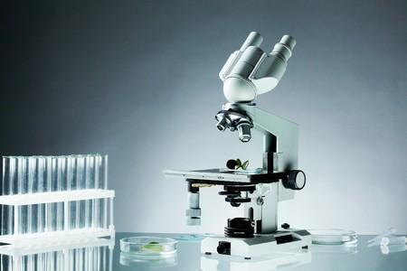 laboratorio: Imagen de diferentes art�culos de vidrio y microscopio en el lugar de trabajo en laboratorio Foto de archivo