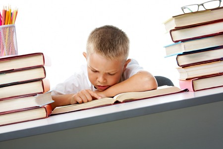 Smart youth reading open book before him with serious facial expression photo