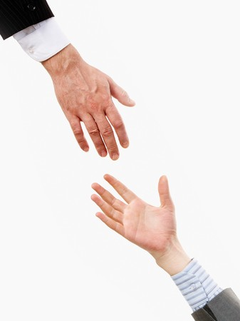 isolation: Image of hand stretching to another one for help in isolation