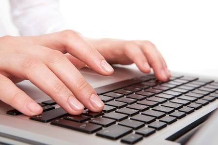 Macro image of human hands typing on keyboard Stock Photo - 8228984