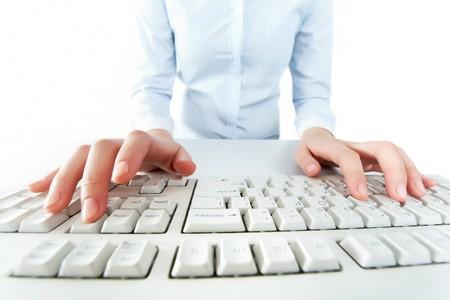 Image of human hands pressing keys of keyboard Stock Photo - 8228949